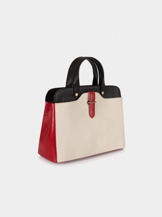 کیف دوشی زنانه گینور LHB4477 EX رنگ مشکی قرمز شیری