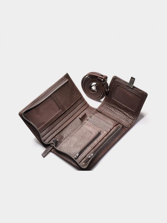 کیف گردنی آرکا PB3568 G رنگ قهوه ای نمای داخل