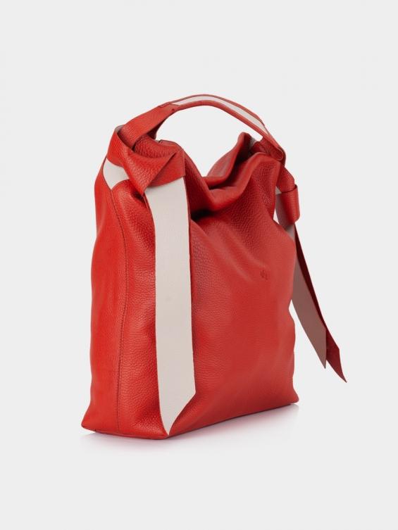 کیف دوشی زنانه 1252 LHB4684 SHK رنگ قرمز نمای بغل
