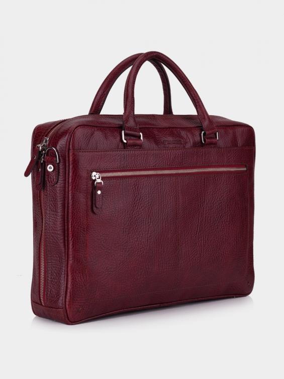 کیف اداری منتو BE4988 KF رنگ زرشکی نمای بغل