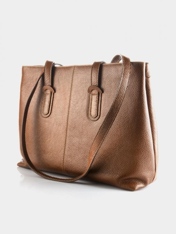 کیف دوشی زنانه 1020-1 LHB4702 MZ رنگ عسلی نمای پشت