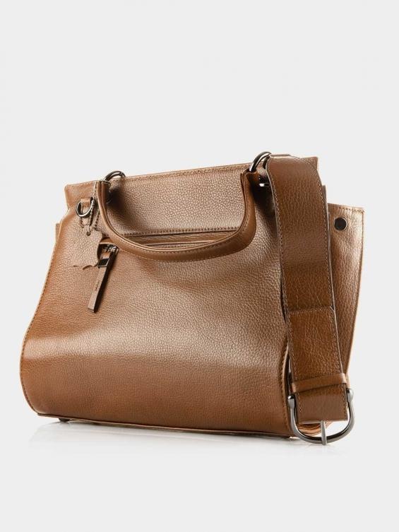 کیف دوشی زنانه 0216 LHB4723 BO رنگ عسلی نمای پشت