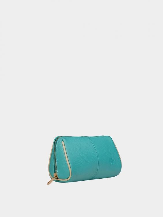 کیف آرایشی آیناز CBX0319 فیروزه ای نمای بغل
